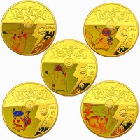 Pokemon Pikachu Gold Münzen Set Replika (5 Stück)