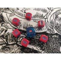 Pokemon Würfel Set / 6x rot & 1x blau (7 Stück)