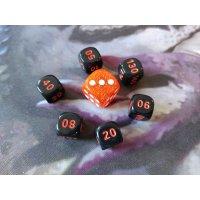 Pokemon Würfel Set / 6x schwarz & 1x orange (7 Stück)