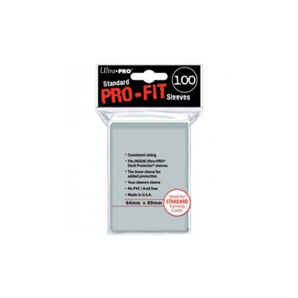 Ultra Pro Sleeves PRO-FIT durchsichtig (100 Sleeves) Standardgröße (innere Hüllen)