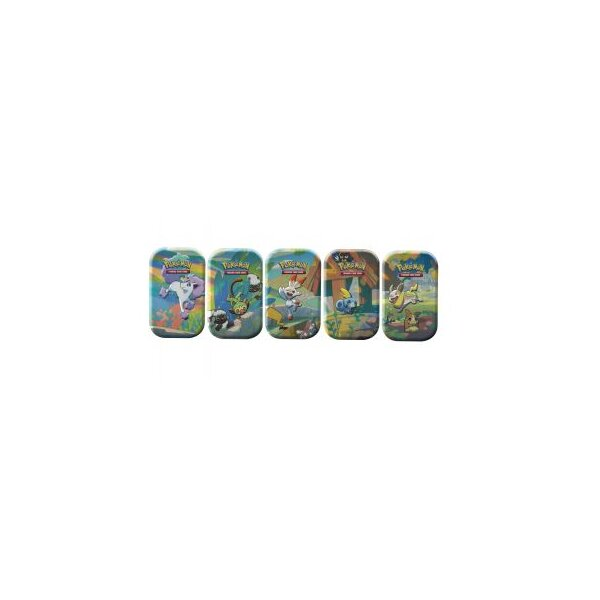 Alle 5 Pokemon Galar Pals Mini Tins: Scorbunny, Sobble, Grookey, Ponyta, Yamper/Morpeko (englisch)