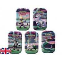 Alle 5 Pokemon Galar Power Mini Tins: Dragapult, Galarian-Sirfetchd, Toxtricity, Galarian-Obstagoon, Galarian-Rapidash