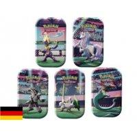 Alle 5 Pokemon Galar-Stärke Mini Tins: Katapuldra, Galar-Lauchzelot, Riffex, Galar-Barrikadax, Galar-Gallopa